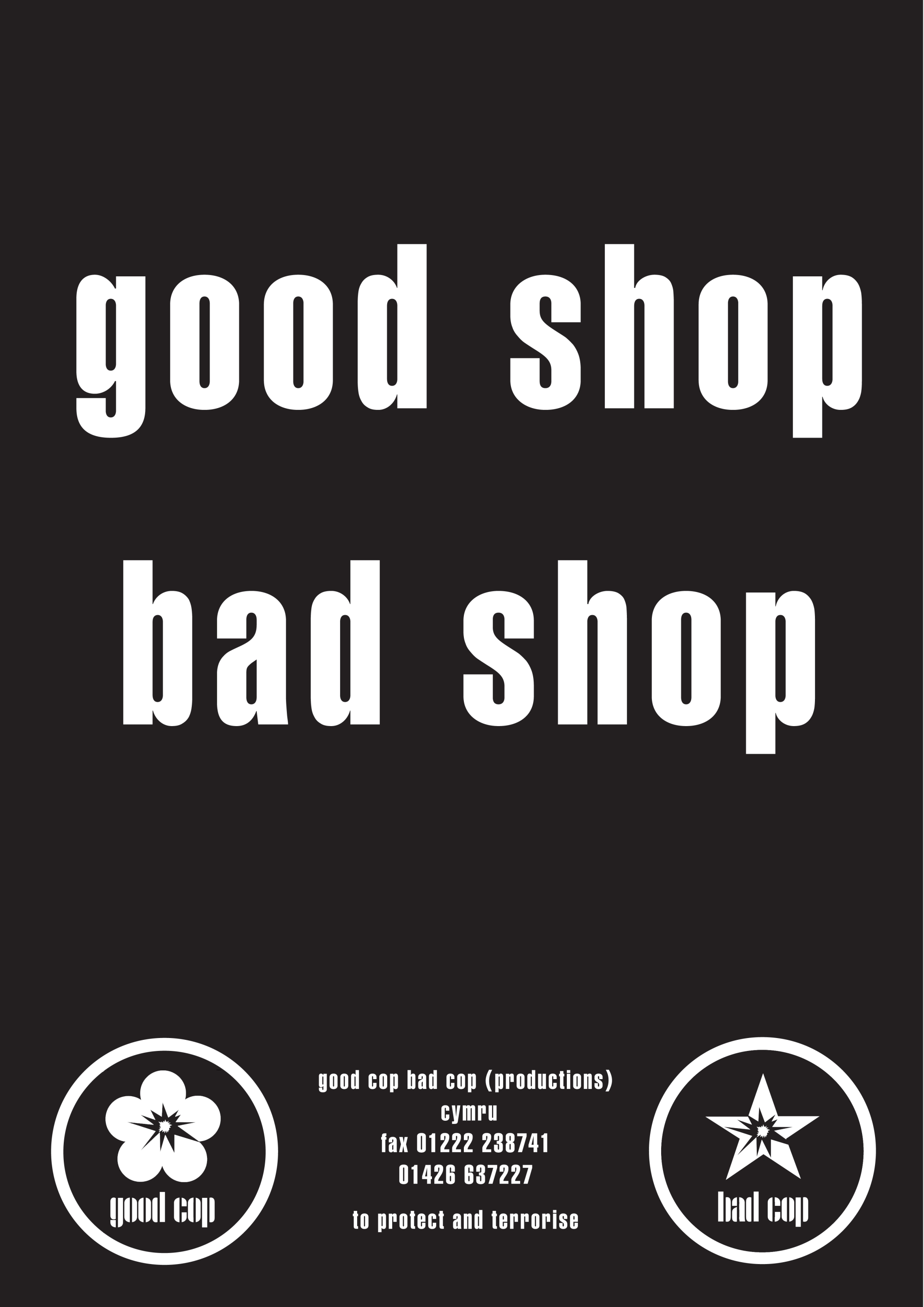good shop bad shop flyer copy